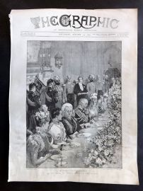 The Graphic 1897 Antique Print. King of Siam's Visit to the Queen
